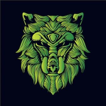 Ilustración de cabeza de lobo verde