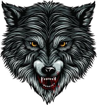 Ilustración de cabeza de lobo