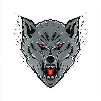 Ilustración de cabeza de lobos