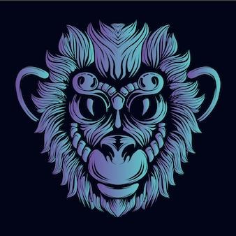 Ilustración de cabeza de mono azul
