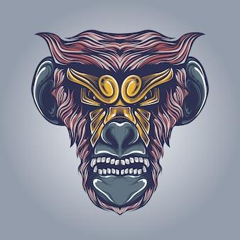 Ilustración de cabeza de mono enojado