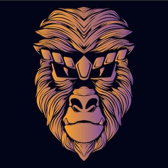 Ilustración de cabeza de mono naranja