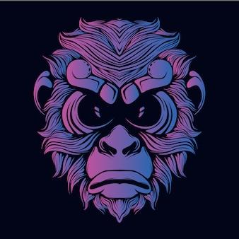 Ilustración de cabeza de mono púrpura