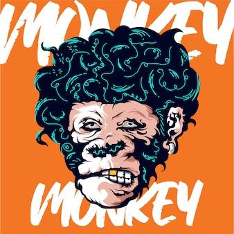 Ilustración de cabeza de mono