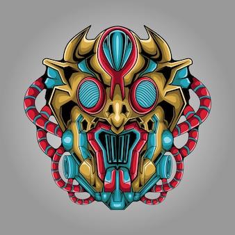 Ilustración de cabeza de monstruo alienígena mecha