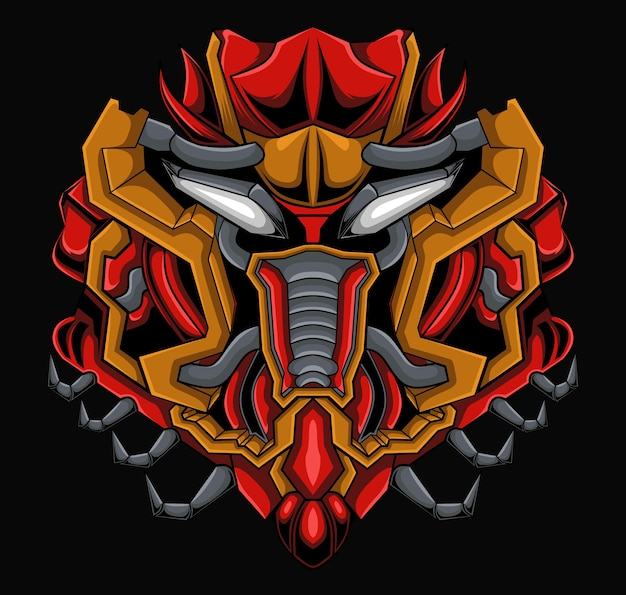 Ilustración de cabeza de monstruo mecha