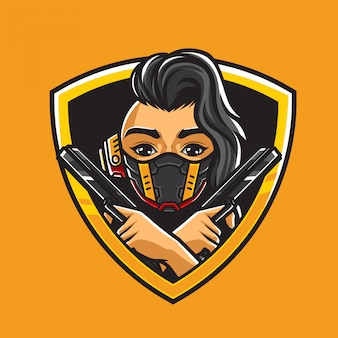 Ilustración de la cabeza de niña cyberpunk