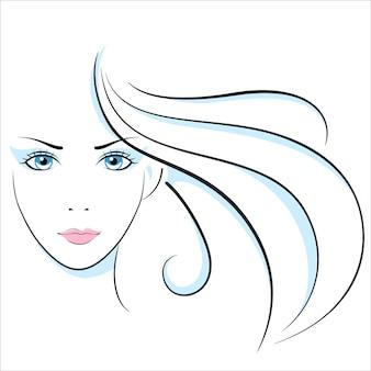Ilustración de cabeza de niña. ojo, oreja, cabello, labios, cuello