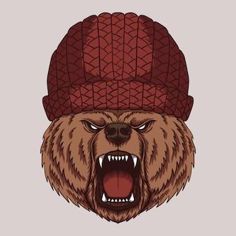 Ilustración de cabeza de oso enojado