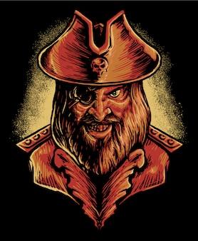 Ilustración de cabeza de pirata