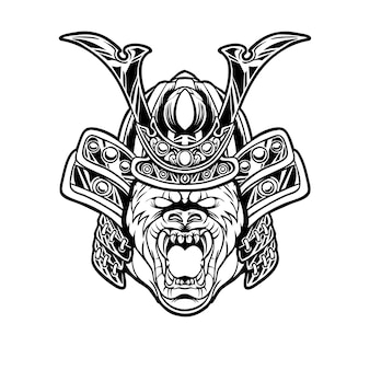 Ilustración de cabeza de samurai de gorila