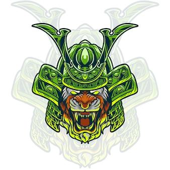 Ilustración de cabeza de samurai tigre