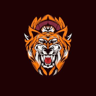 Ilustración de cabeza de tigre asustada