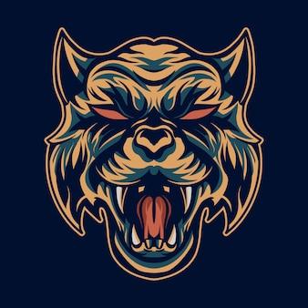 Ilustración de cabeza de tigre boca abierta