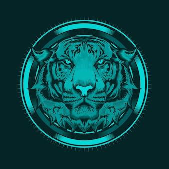 Ilustración de cabeza de tigre y diseño detallado del arte del círculo