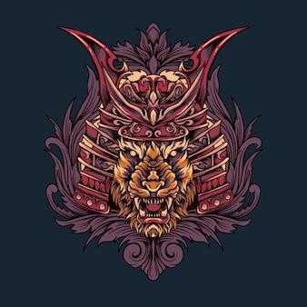 Ilustración de cabeza de tigre samurai japonés