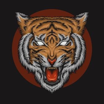 Ilustración de cabeza de tigre súper detallada