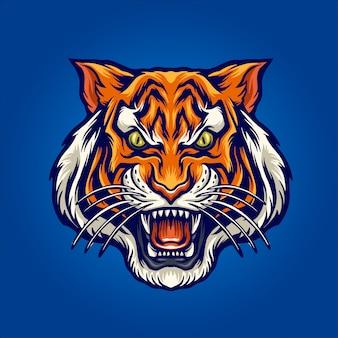 Ilustración de cabeza de tigre