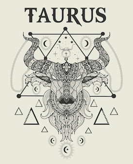 Ilustración, cabeza de toro, tauro, símbolo