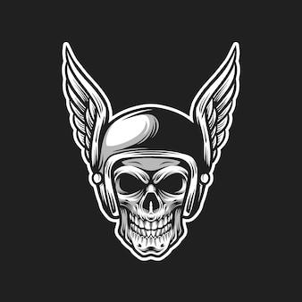 Ilustración de cabeza de vector de cráneo de jinete