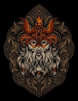 Ilustración cabeza de vikingo con adorno grabado