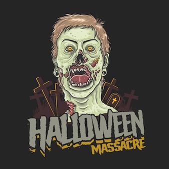 Ilustración de cabeza de zombie de masacre de halloween