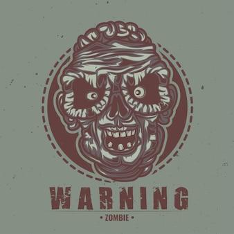 Ilustración de cabeza de zombie