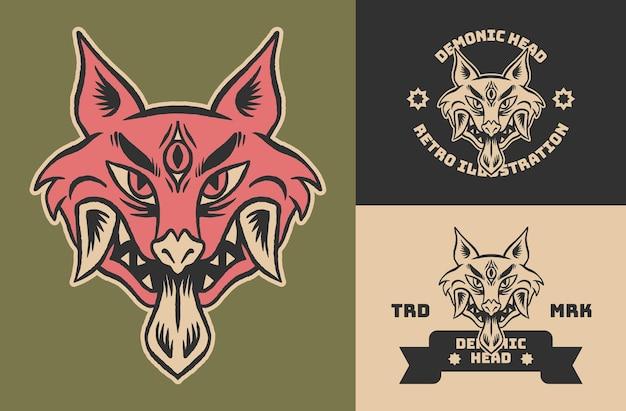 Ilustración de cabeza de zorro demonio vintage retro