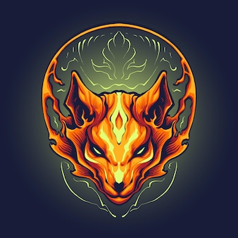 Ilustración de cabeza de zorro de llamas