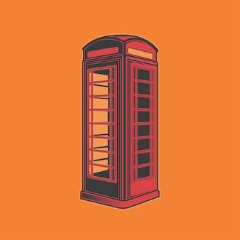 Ilustración de cabina de teléfono vintage