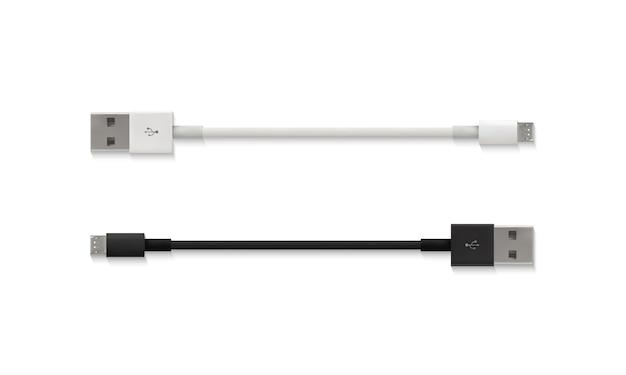 Ilustración de cable micro usb de 3d realista aislado conector blanco y negro