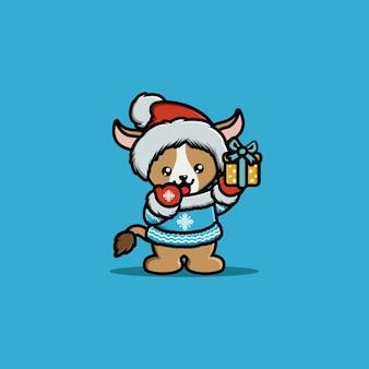Ilustración de cabra de carácter animal con caja de regalo