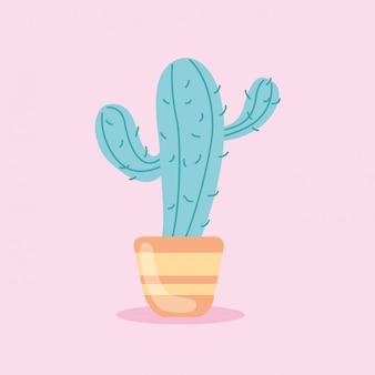 Ilustración de cactus lindo aislado en rosa
