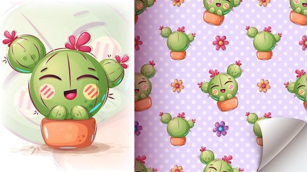Ilustración de cactus lindo - patrón transparente