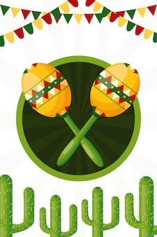 Ilustración de cactus y maracas de la cultura mexicana