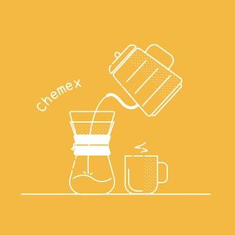 Ilustración café chemex conjunto de iconos de contorno blanco vectorial preparando café