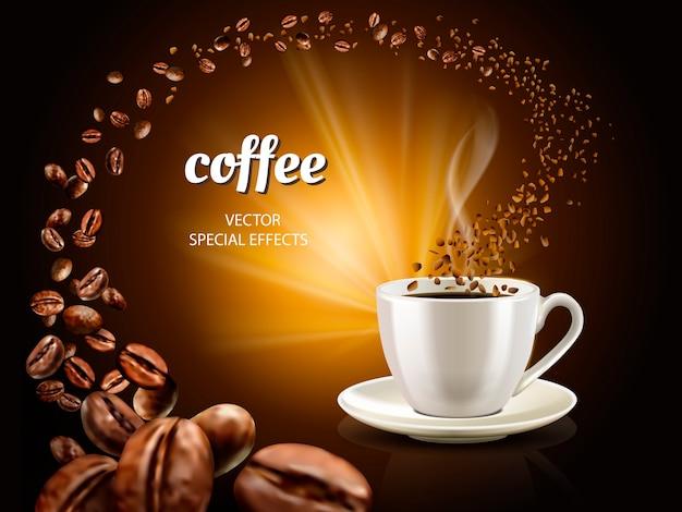 Ilustración de café instantáneo con taza de café llena e innumerables granos de café, ilustración