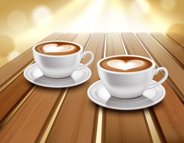 Ilustración de café con leche y capuchino