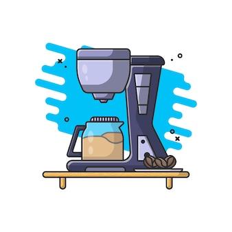 Ilustración de cafetera y granos de café con vidrio
