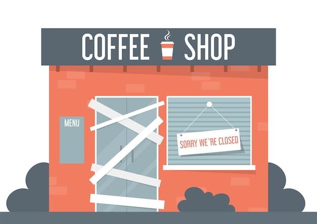 Ilustración de cafetería cerrada