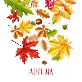 Ilustración de caída de hojas de otoño realista