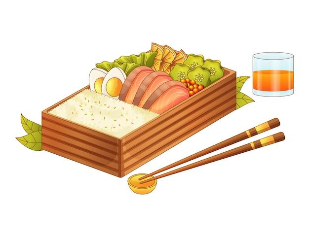 Ilustración de caja bento realista dibujada a mano
