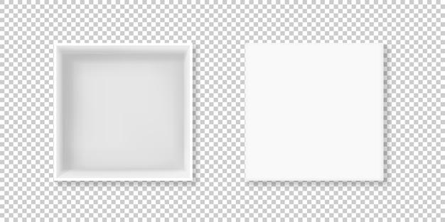 Ilustración de caja blanca de cartulina 3d realista o paquete de papel cuadrado de cartón vacío