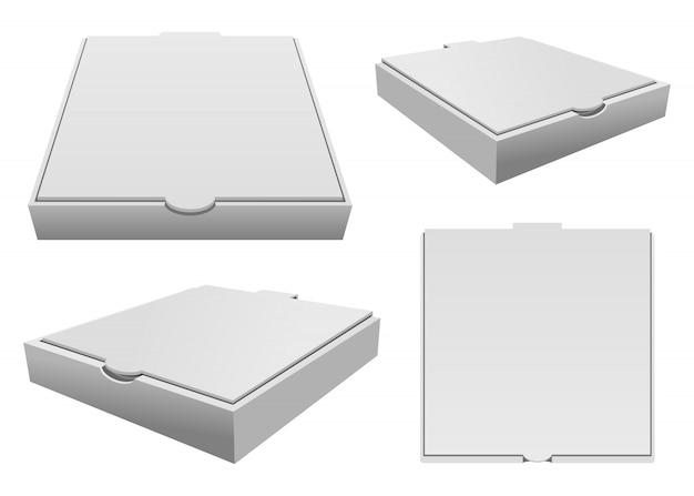 Ilustración de caja de pizza aislado en blanco