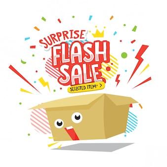 Ilustración de caja de venta flash sorpresa