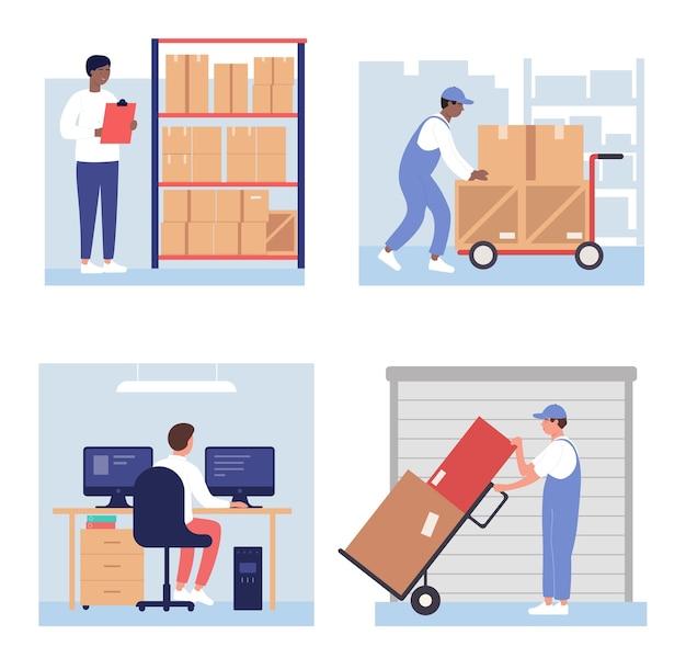 Ilustración de cajas de carga de almacén
