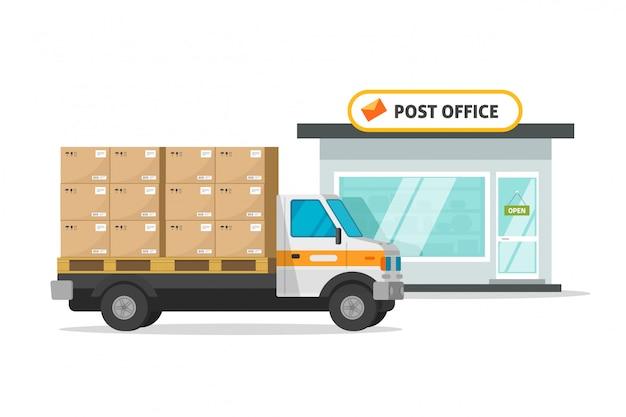 Ilustración de cajas de paquetes cargados de vehículos de camiones de carga de la oficina de correos
