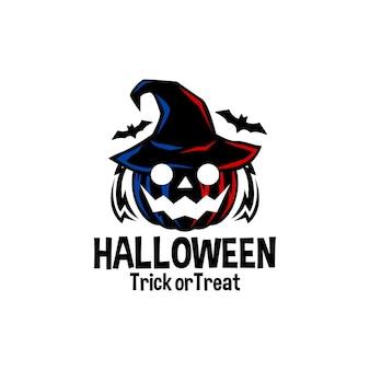 Ilustración de una calabaza aterradora con un sombrero de bruja y un logo de vector de halloween de murciélagos