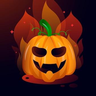 Ilustración de calabaza de halloween degradado