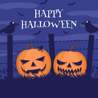 Ilustración de calabaza de halloween plana